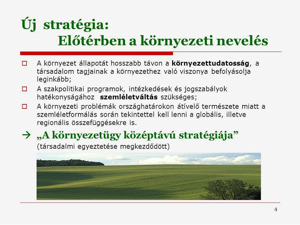 4 Új stratégia: Előtérben a környezeti nevelés  A környezet állapotát hosszabb távon a környezettudatosság, a társadalom tagjainak a környezethez való viszonya befolyásolja leginkább;  A szakpolitikai programok, intézkedések és jogszabályok hatékonyságához szemléletváltás szükséges;  A környezeti problémák országhatárokon átívelő természete miatt a szemléletformálás során tekintettel kell lenni a globális, illetve regionális összefüggésekre is.