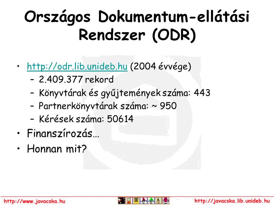 Országos Dokumentum-ellátási Rendszer (ODR) http://odr.lib.unideb.hu (2004 évvége)http://odr.lib.unideb.hu –2.409.377 rekord –Könyvtárak és gyűjtemény