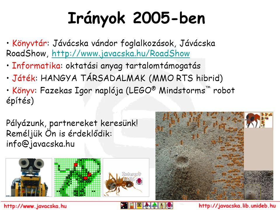 Irányok 2005-ben Könyvtár: Jávácska vándor foglalkozások, Jávácska RoadShow, http://www.javacska.hu/RoadShowhttp://www.javacska.hu/RoadShow Informatik