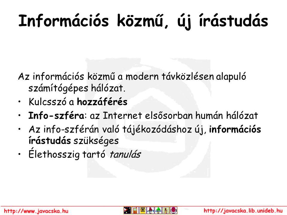 Információs közmű, új írástudás Az információs közmű a modern távközlésen alapuló számítógépes hálózat. Kulcsszó a hozzáférés Info-szféra: az Internet