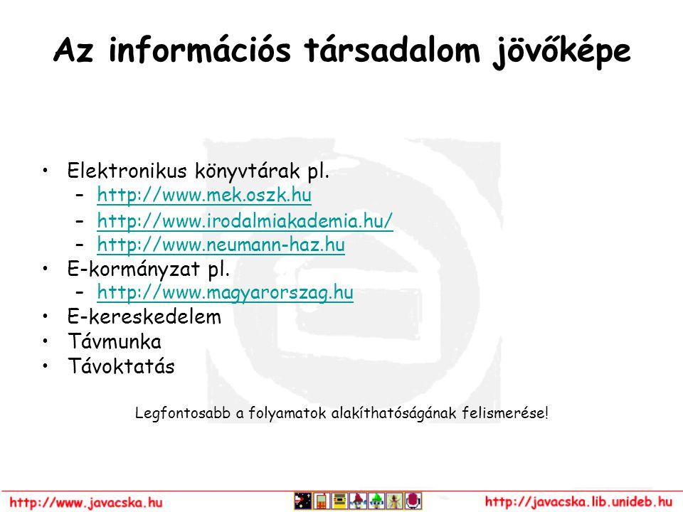 Az információs társadalom jövőképe Elektronikus könyvtárak pl. –http://www.mek.oszk.huhttp://www.mek.oszk.hu –http://www.irodalmiakademia.hu/http://ww