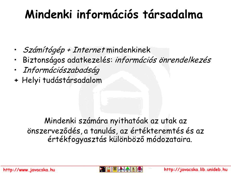 Mindenki információs társadalma Számítógép + Internet mindenkinek Biztonságos adatkezelés: információs önrendelkezés Információszabadság + Helyi tudás
