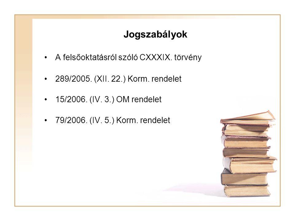 Jogszabályok A felsőoktatásról szóló CXXXIX. törvény 289/2005. (XII. 22.) Korm. rendelet 15/2006. (IV. 3.) OM rendelet 79/2006. (IV. 5.) Korm. rendele