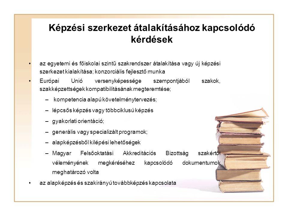 Képzési szerkezet átalakításához kapcsolódó kérdések az egyetemi és főiskolai szintű szakrendszer átalakítása vagy új képzési szerkezet kialakítása; k