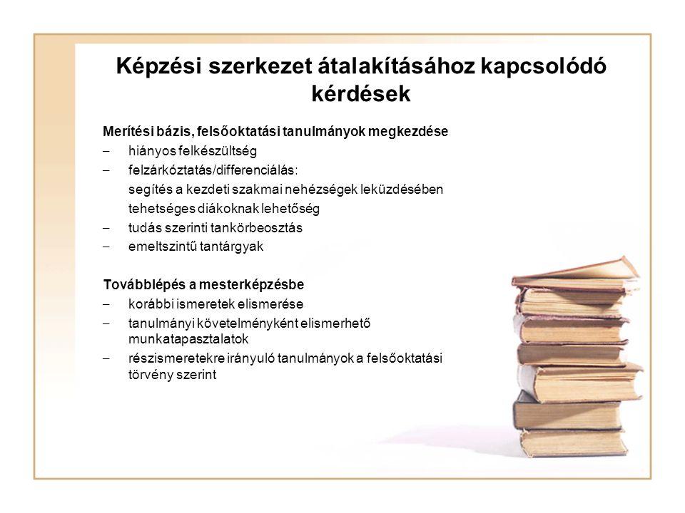 Képzési szerkezet átalakításához kapcsolódó kérdések Merítési bázis, felsőoktatási tanulmányok megkezdése – hiányos felkészültség – felzárkóztatás/dif
