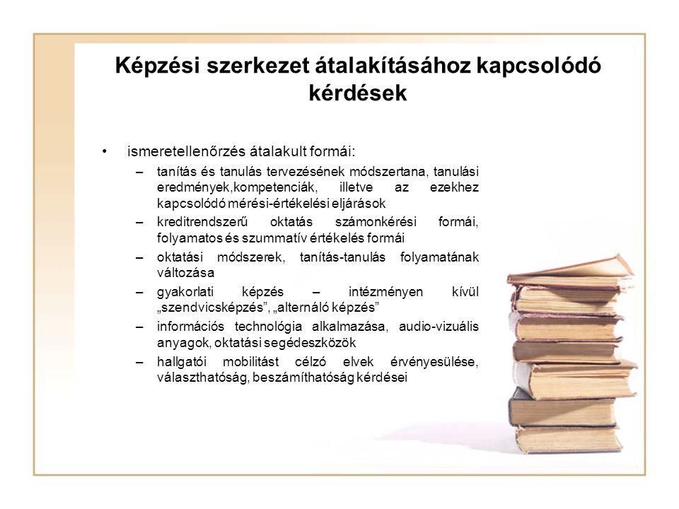 Képzési szerkezet átalakításához kapcsolódó kérdések ismeretellenőrzés átalakult formái: –tanítás és tanulás tervezésének módszertana, tanulási eredmé