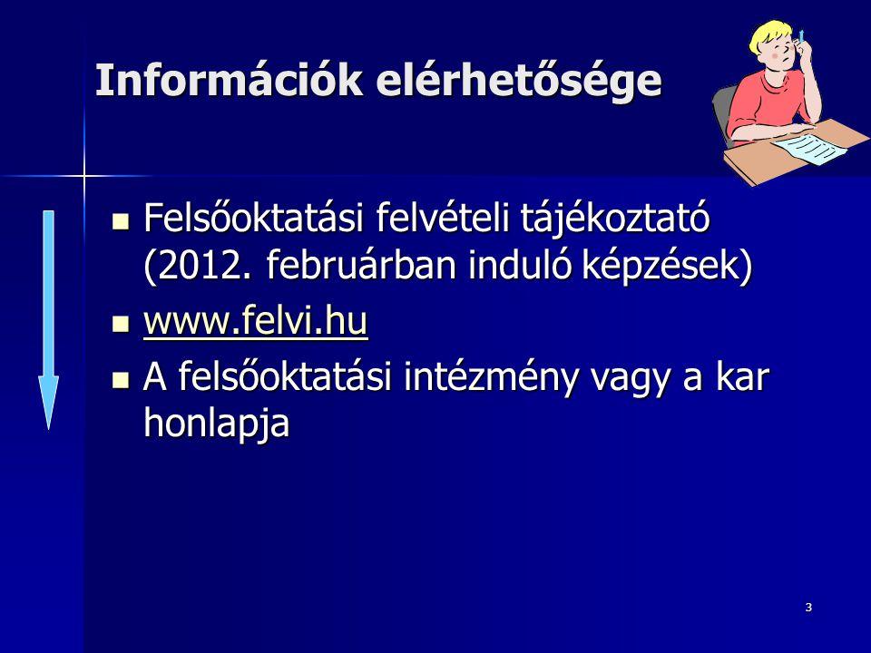 3 Információk elérhetősége Felsőoktatási felvételi tájékoztató (2012.