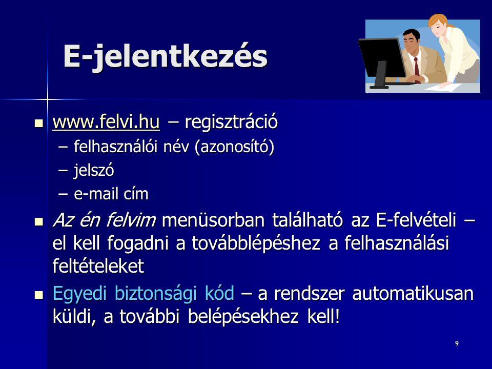 9 E-jelentkezés www.felvi.hu – regisztráció www.felvi.hu – regisztráció www.felvi.hu –felhasználói név (azonosító) –jelszó –e-mail cím Az én felvim menüsorban található az E-felvételi – el kell fogadni a továbblépéshez a felhasználási feltételeket Az én felvim menüsorban található az E-felvételi – el kell fogadni a továbblépéshez a felhasználási feltételeket Egyedi biztonsági kód – a rendszer automatikusan küldi, a további belépésekhez kell.