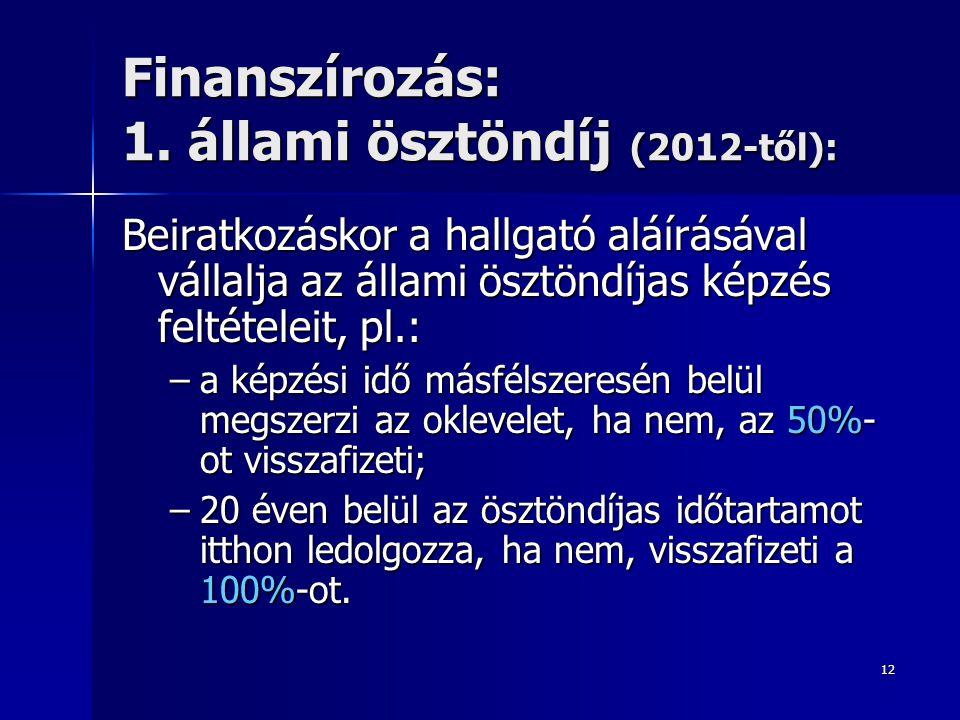 12 Finanszírozás: 1. állami ösztöndíj (2012-től): Beiratkozáskor a hallgató aláírásával vállalja az állami ösztöndíjas képzés feltételeit, pl.: –a kép