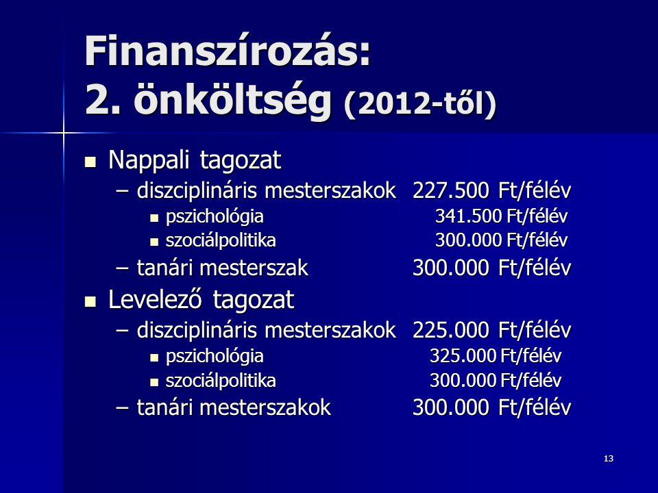 13 Finanszírozás: 2. önköltség (2012-től) Nappali tagozat Nappali tagozat –diszciplináris mesterszakok 227.500 Ft/félév pszichológia 341.500 Ft/félév