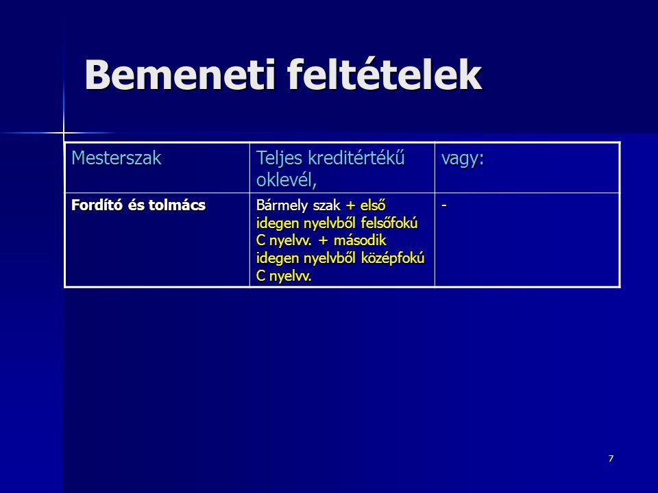 7 Bemeneti feltételek Mesterszak Teljes kreditértékű oklevél, vagy: Fordító és tolmács Bármely szak + első idegen nyelvből felsőfokú C nyelvv. + másod