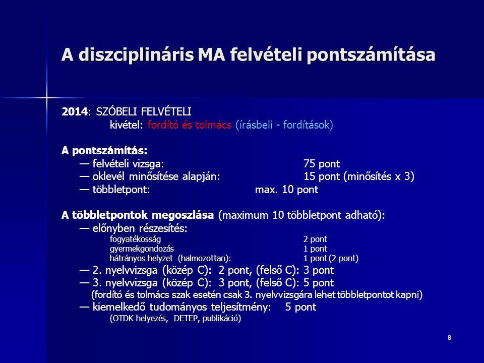 8 A diszciplináris MA felvételi pontszámítása 2014: SZÓBELI FELVÉTELI kivétel: fordító és tolmács (írásbeli - fordítások) A pontszámítás: — felvételi