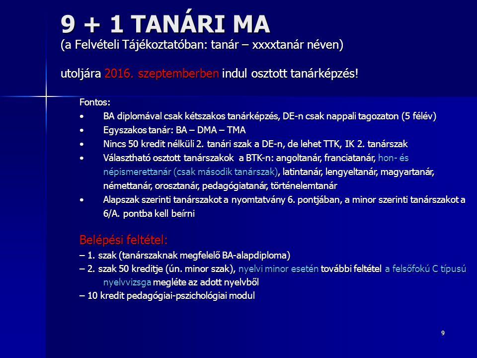 9 9 + 1 TANÁRI MA (a Felvételi Tájékoztatóban: tanár – xxxxtanár néven) utoljára 2016. szeptemberben indul osztott tanárképzés! Fontos: BA diplomával
