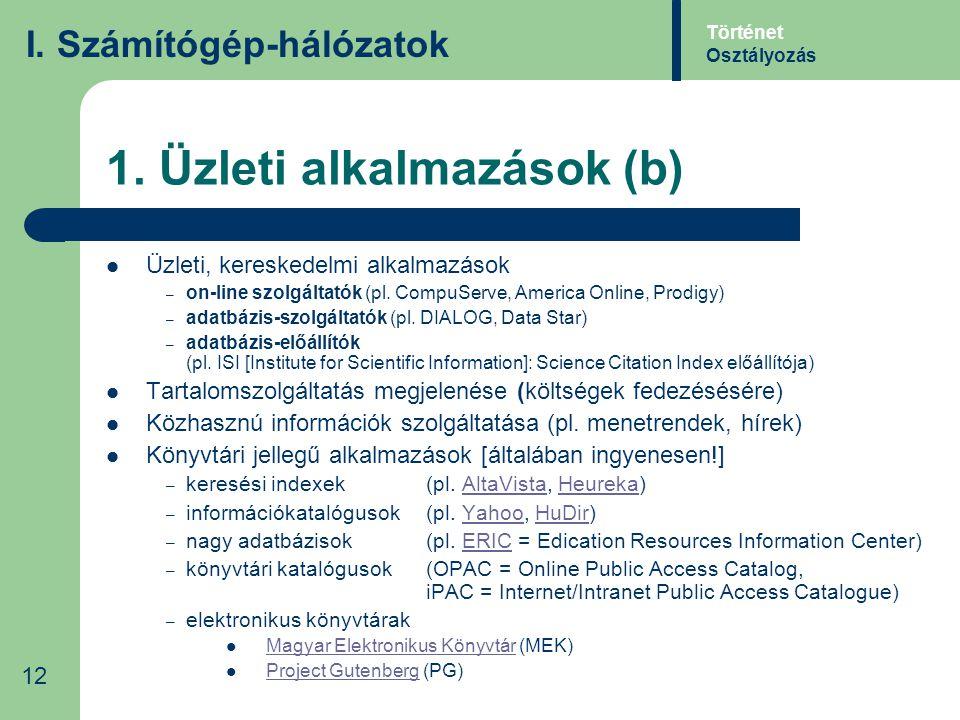 1. Üzleti alkalmazások (b) Üzleti, kereskedelmi alkalmazások – on-line szolgáltatók (pl. CompuServe, America Online, Prodigy) – adatbázis-szolgáltatók