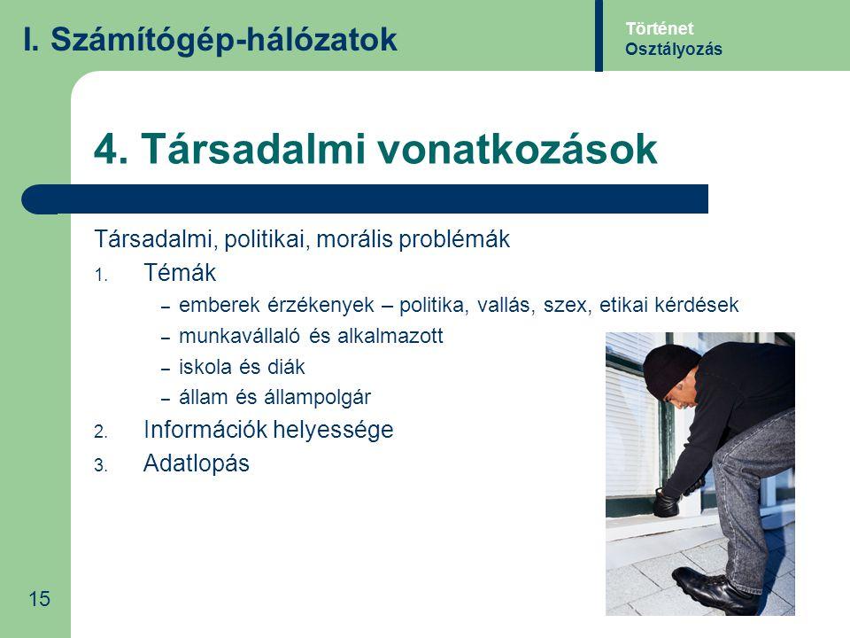 4. Társadalmi vonatkozások Társadalmi, politikai, morális problémák 1. Témák – emberek érzékenyek – politika, vallás, szex, etikai kérdések – munkavál
