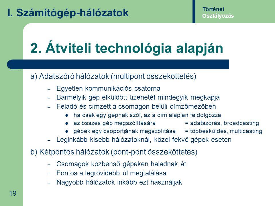 2. Átviteli technológia alapján a) Adatszóró hálózatok (multipont összeköttetés) – Egyetlen kommunikációs csatorna – Bármelyik gép elküldött üzenetét