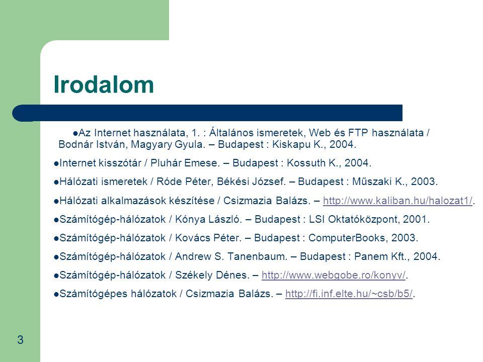 Irodalom Az Internet használata, 1. : Általános ismeretek, Web és FTP használata / Bodnár István, Magyary Gyula. – Budapest : Kiskapu K., 2004. Intern