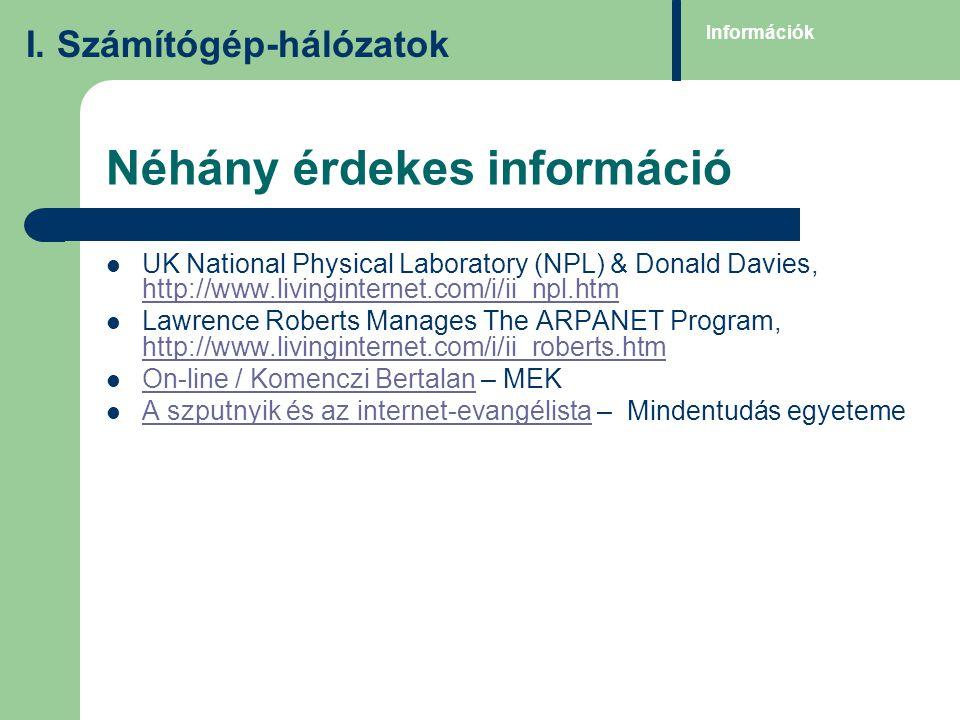 Néhány érdekes információ UK National Physical Laboratory (NPL) & Donald Davies, http://www.livinginternet.com/i/ii_npl.htm http://www.livinginternet.