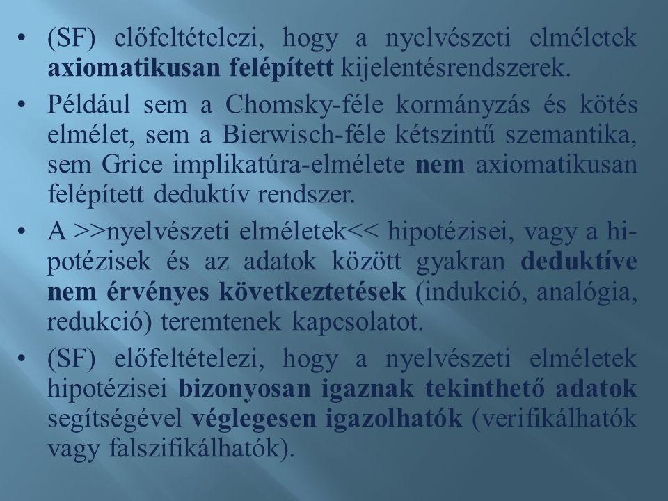 (SF) előfeltételezi, hogy a nyelvészeti elméletek axiomatikusan felépített kijelentésrendszerek.