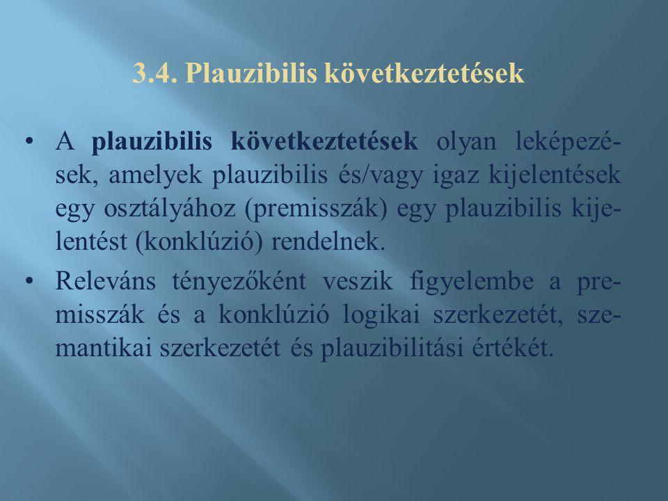 A plauzibilis következtetések olyan leképezé- sek, amelyek plauzibilis és/vagy igaz kijelentések egy osztályához (premisszák) egy plauzibilis kije- lentést (konklúzió) rendelnek.