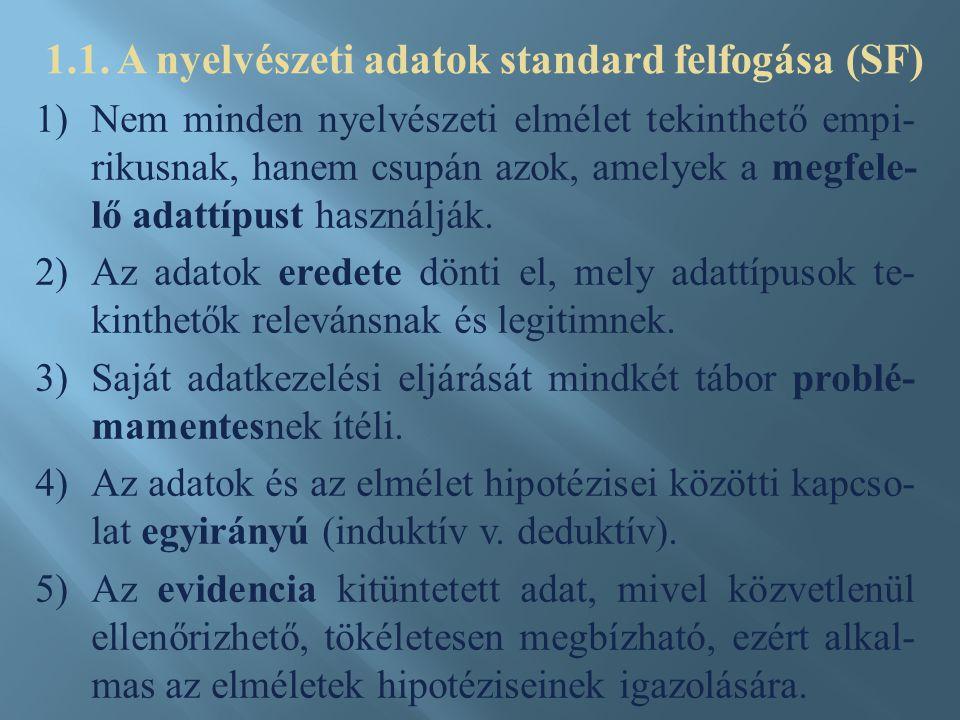 1)Nem minden nyelvészeti elmélet tekinthető empi- rikusnak, hanem csupán azok, amelyek a megfele- lő adattípust használják. 2)Az adatok eredete dönti