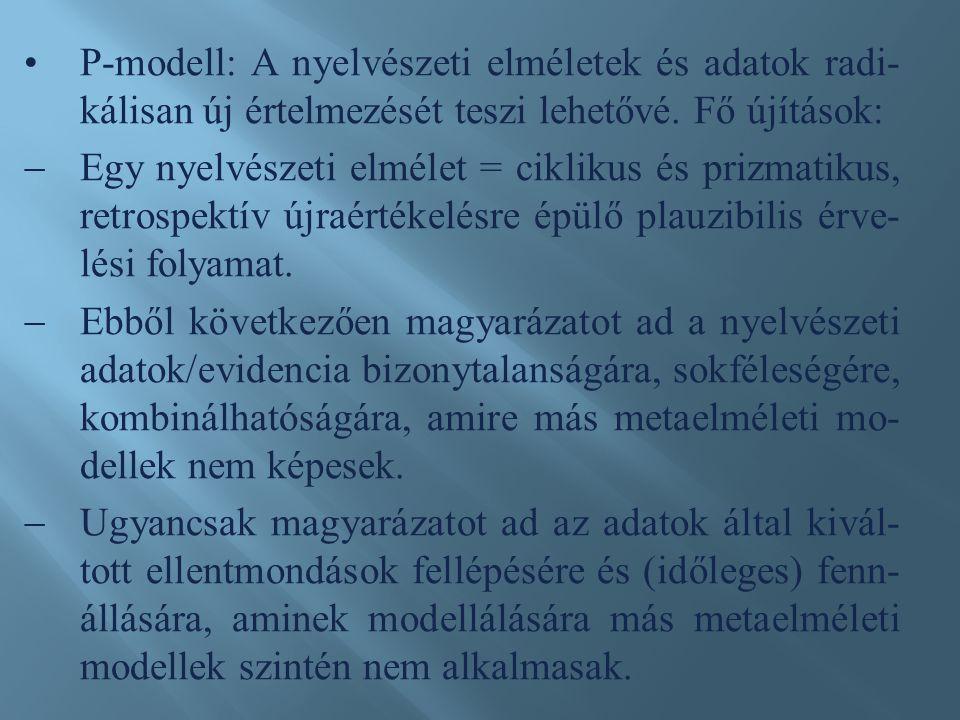 P-modell: A nyelvészeti elméletek és adatok radi- kálisan új értelmezését teszi lehetővé.