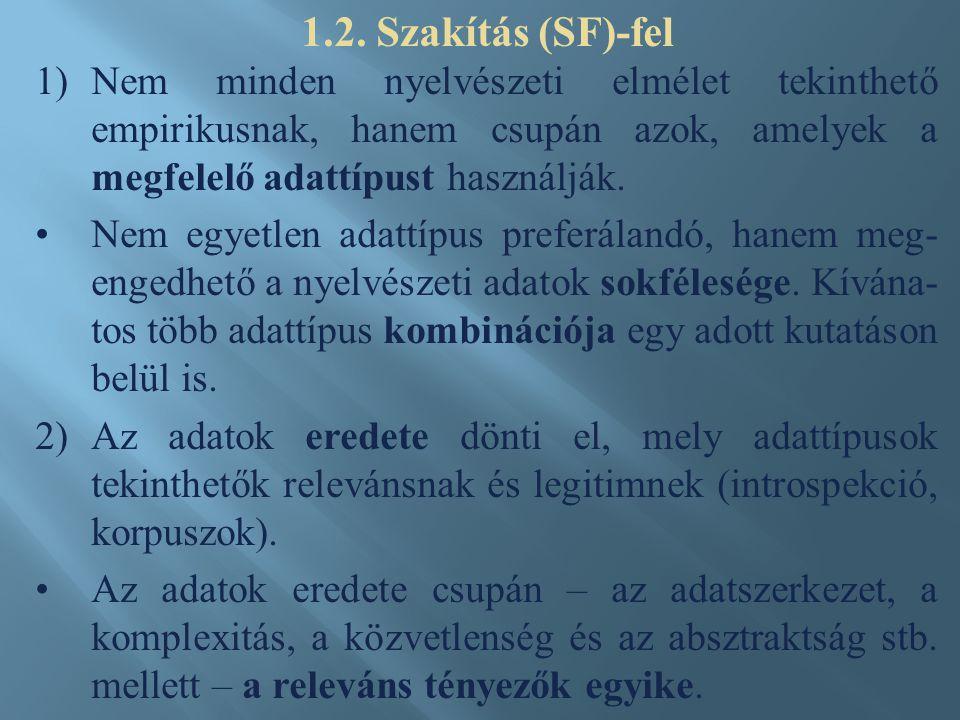 1)Nem minden nyelvészeti elmélet tekinthető empirikusnak, hanem csupán azok, amelyek a megfelelő adattípust használják. Nem egyetlen adattípus preferá