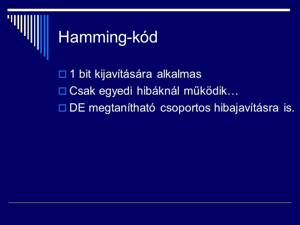 Hamming-kód  1 bit kijavítására alkalmas  Csak egyedi hibáknál működik…  DE megtanítható csoportos hibajavításra is.