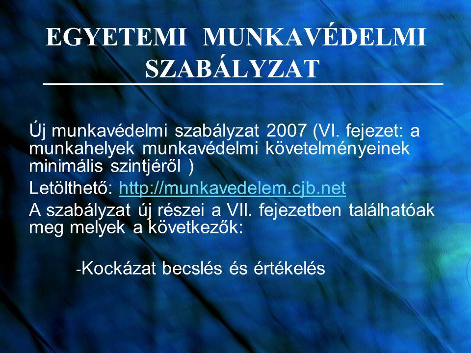 EGYETEMI MUNKAVÉDELMI SZABÁLYZAT Új munkavédelmi szabályzat 2007 (VI. fejezet: a munkahelyek munkavédelmi követelményeinek minimális szintjéről ) Letö