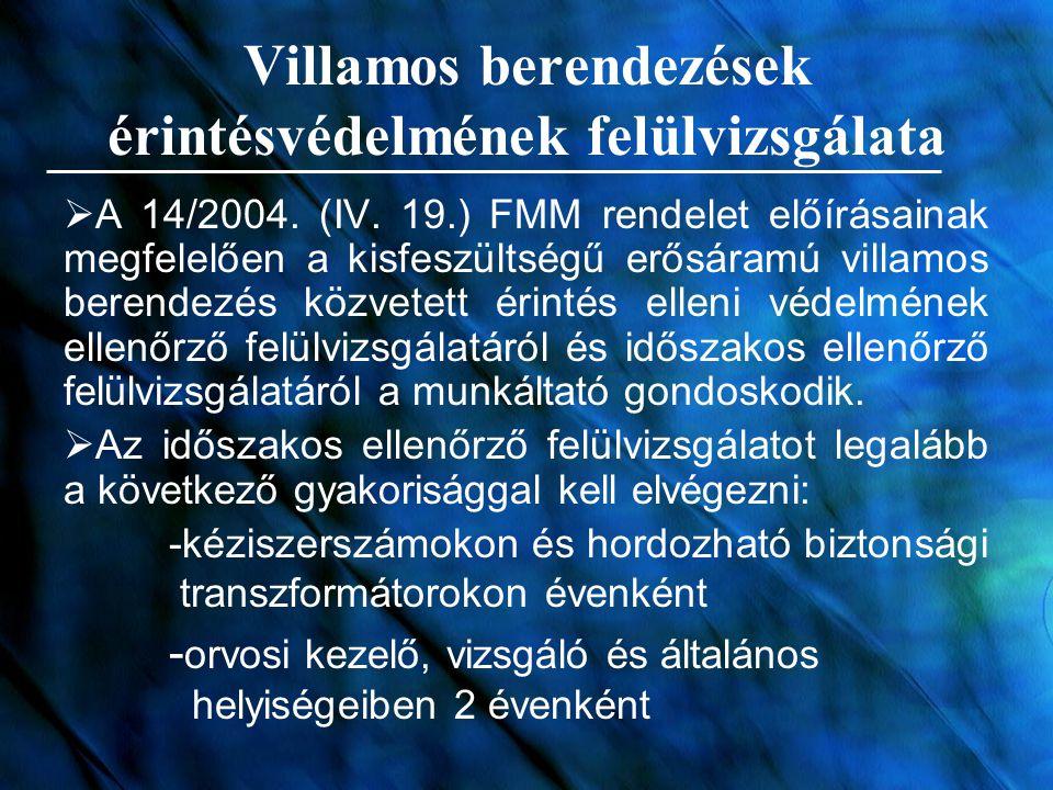 Villamos berendezések érintésvédelmének felülvizsgálata  A 14/2004. (IV. 19.) FMM rendelet előírásainak megfelelően a kisfeszültségű erősáramú villam