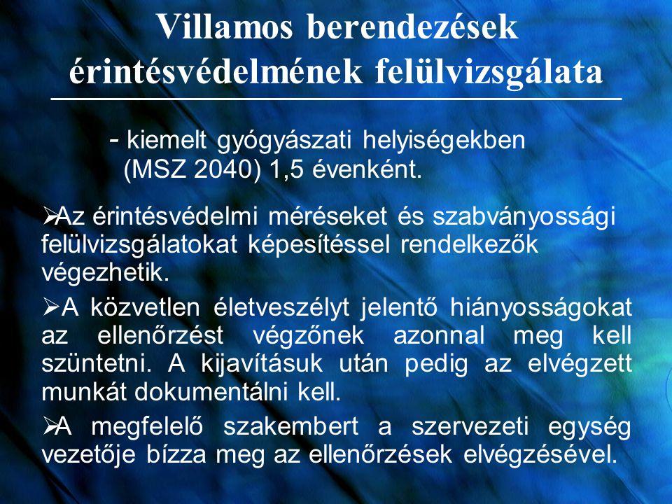 Villamos berendezések érintésvédelmének felülvizsgálata - kiemelt gyógyászati helyiségekben (MSZ 2040) 1,5 évenként.