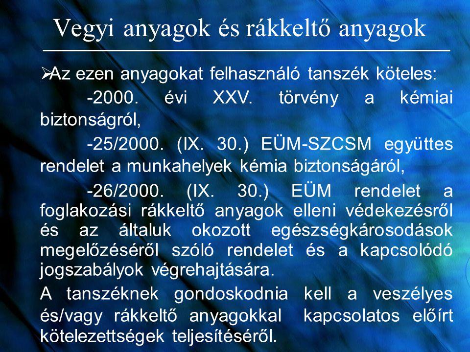 Vegyi anyagok és rákkeltő anyagok  Az ezen anyagokat felhasználó tanszék köteles: -2000. évi XXV. törvény a kémiai biztonságról, -25/2000. (IX. 30.)
