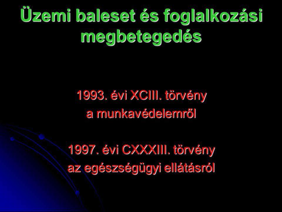 Üzemi baleset és foglalkozási megbetegedés 1993. évi XCIII.