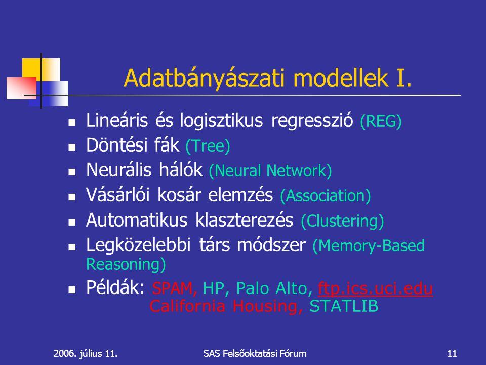 2006. július 11.SAS Felsőoktatási Fórum11 Adatbányászati modellek I.