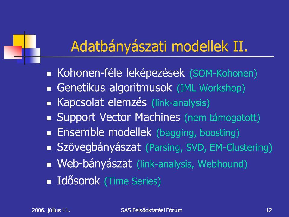 2006. július 11.SAS Felsőoktatási Fórum12 Adatbányászati modellek II.