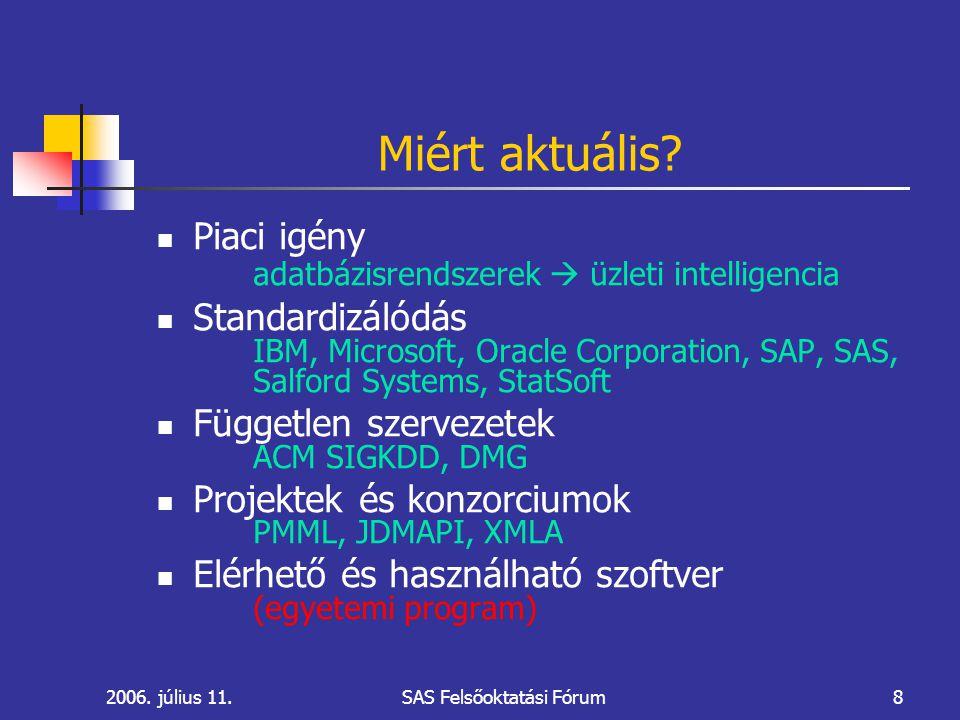 2006.július 11.SAS Felsőoktatási Fórum8 Miért aktuális.