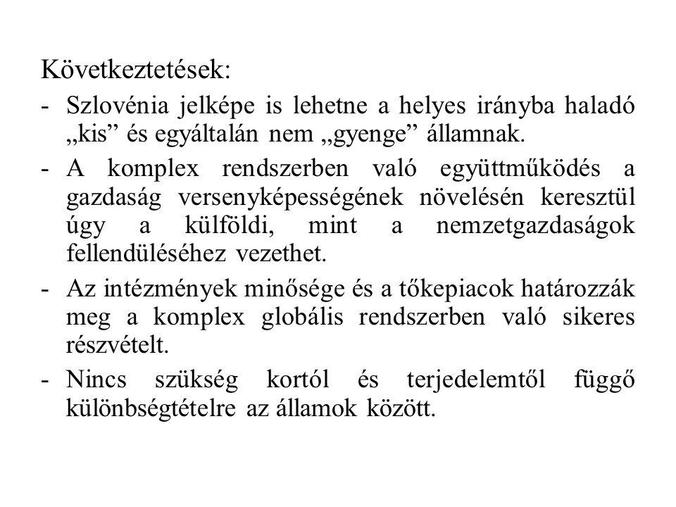 """Következtetések: -Szlovénia jelképe is lehetne a helyes irányba haladó """"kis és egyáltalán nem """"gyenge államnak."""