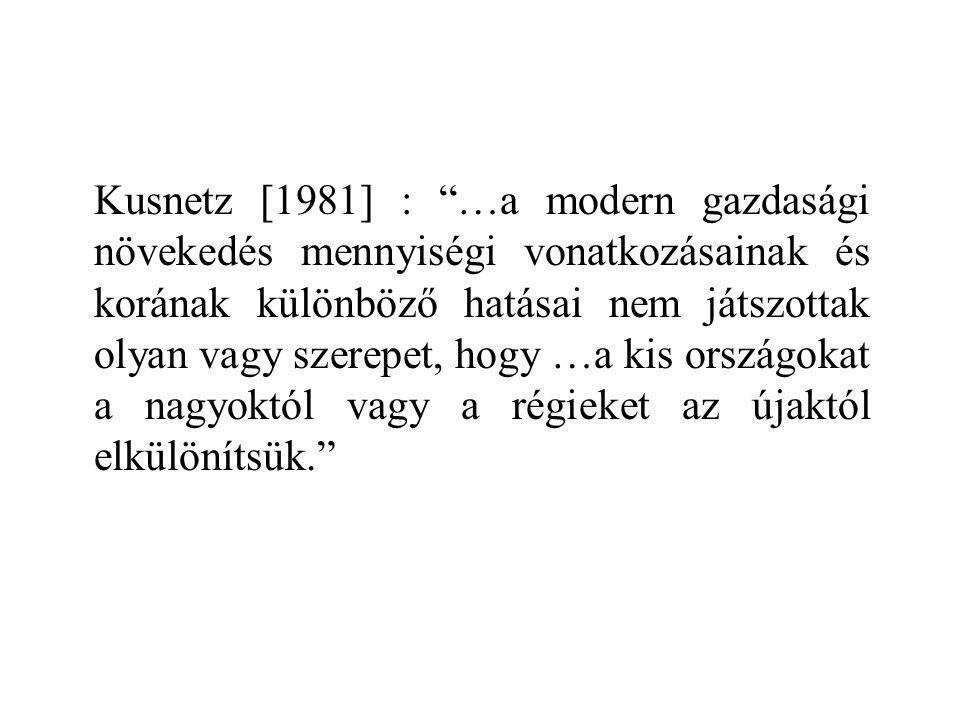 Kusnetz [1981] : …a modern gazdasági növekedés mennyiségi vonatkozásainak és korának különböző hatásai nem játszottak olyan vagy szerepet, hogy …a kis országokat a nagyoktól vagy a régieket az újaktól elkülönítsük.
