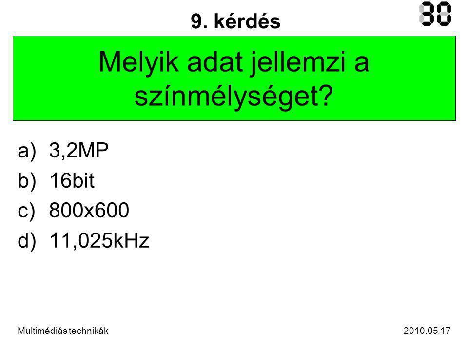 2010.05.17Multimédiás technikák 10.kérdés Melyik jellemző nem része a HSB színtérnek.