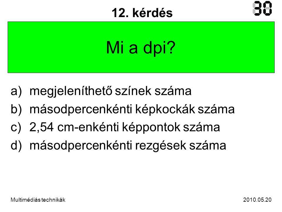 2010.05.20Multimédiás technikák 12.kérdés Mi a dpi.