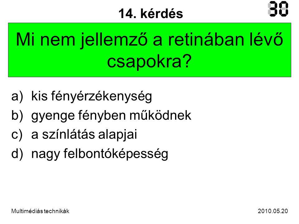 2010.05.20Multimédiás technikák 14.kérdés Mi nem jellemző a retinában lévő csapokra.