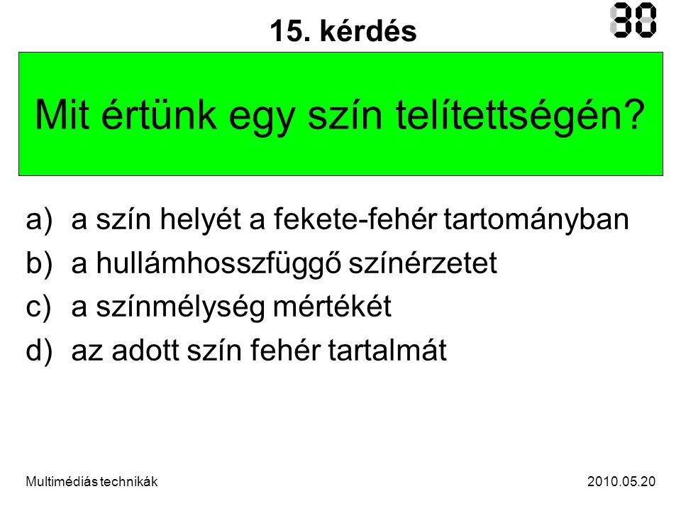 2010.05.20Multimédiás technikák 15.kérdés Mit értünk egy szín telítettségén.