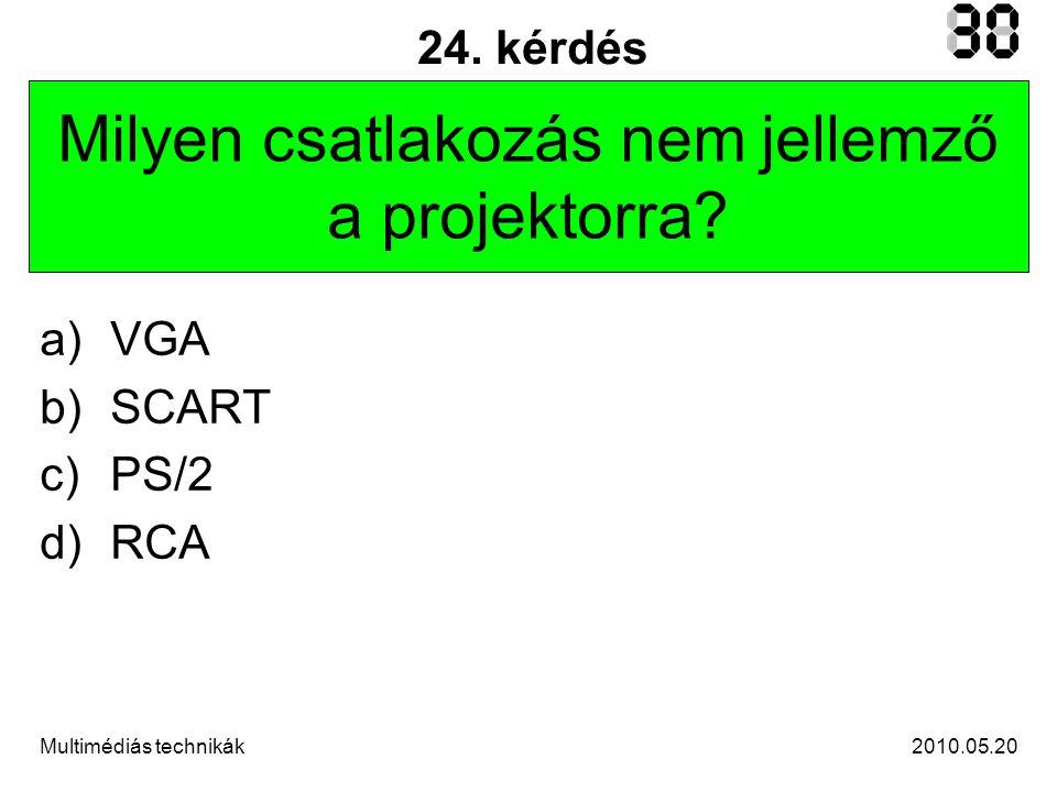 2010.05.20Multimédiás technikák 24. kérdés Milyen csatlakozás nem jellemző a projektorra.