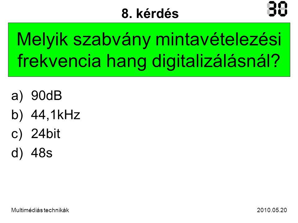 2010.05.20Multimédiás technikák 9.kérdés Minek a mértékegysége a decibel (dB).