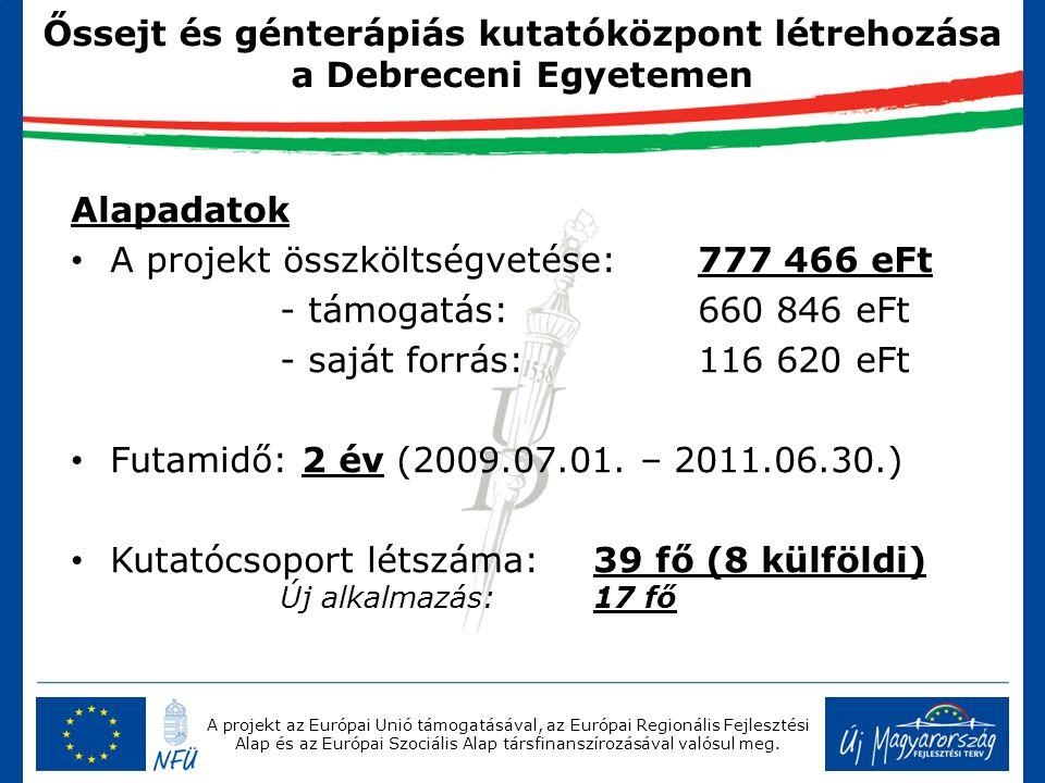 A projekt az Európai Unió támogatásával, az Európai Regionális Fejlesztési Alap és az Európai Szociális Alap társfinanszírozásával valósul meg. Őssejt