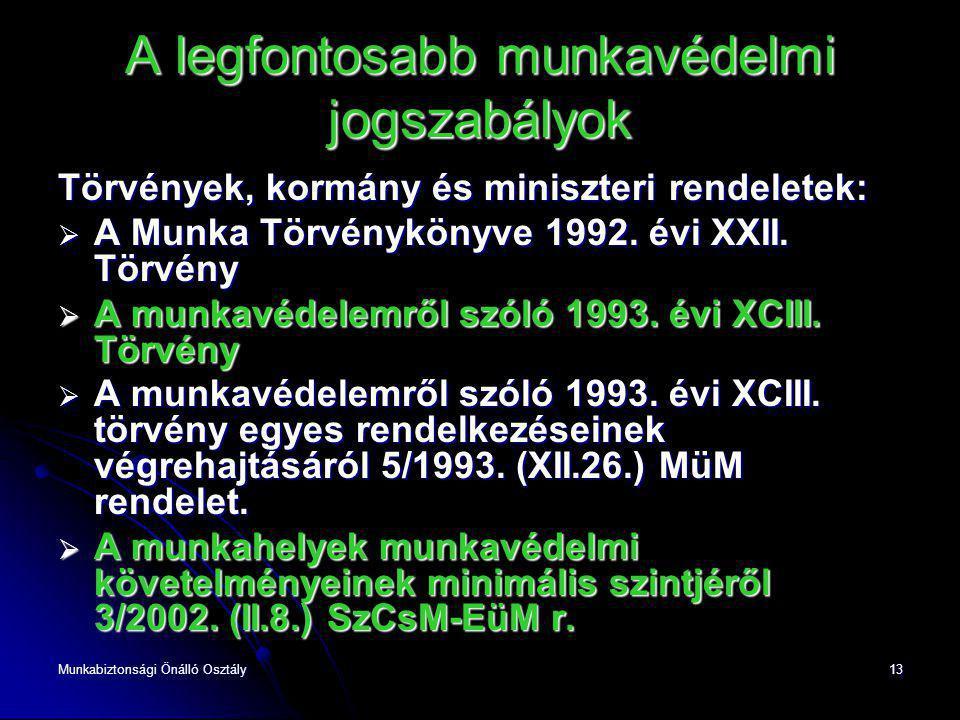 Munkabiztonsági Önálló Osztály13 A legfontosabb munkavédelmi jogszabályok Törvények, kormány és miniszteri rendeletek:  A Munka Törvénykönyve 1992. é