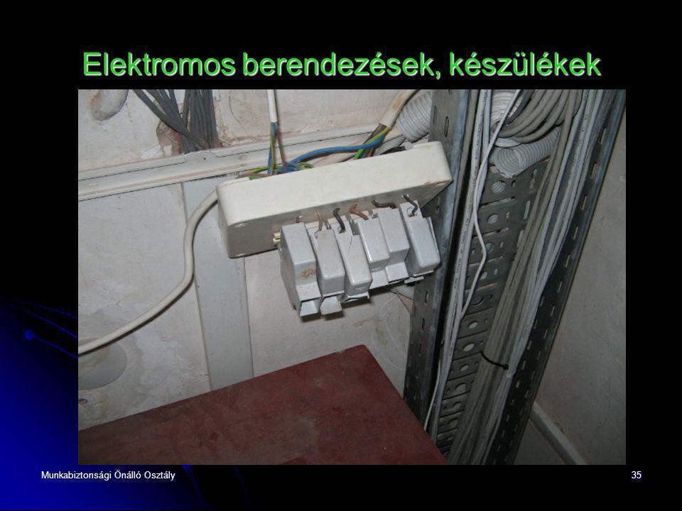 Munkabiztonsági Önálló Osztály35 Elektromos berendezések, készülékek