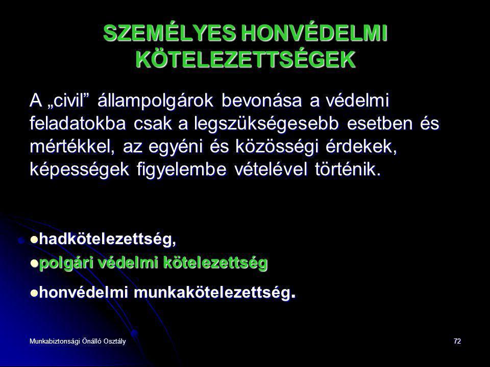 """Munkabiztonsági Önálló Osztály72 SZEMÉLYES HONVÉDELMI KÖTELEZETTSÉGEK A """"civil"""" állampolgárok bevonása a védelmi feladatokba csak a legszükségesebb es"""