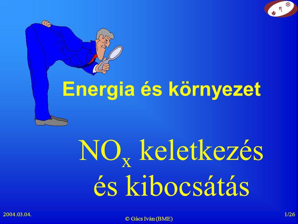 2004.03.04. © Gács Iván (BME) 1/26 Energia és környezet NO x keletkezés és kibocsátás