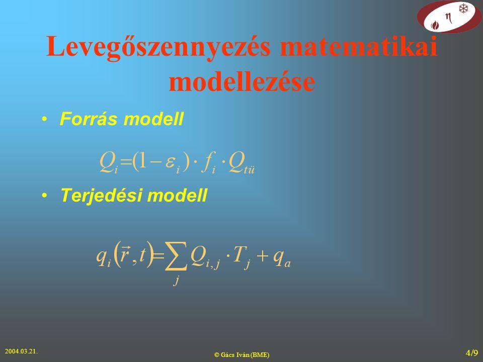 2004.03.21. © Gács Iván (BME) 4/9 Levegőszennyezés matematikai modellezése Forrás modell Terjedési modell